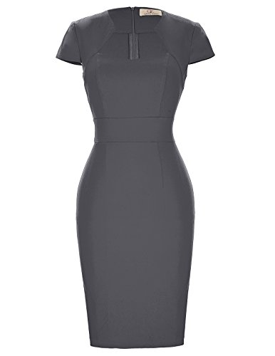 Dress KARIN GRACE Grey Dress Wiggle CL7597 50s Vintage Pencil Sleeve Dark Women's Cap 4nFqg