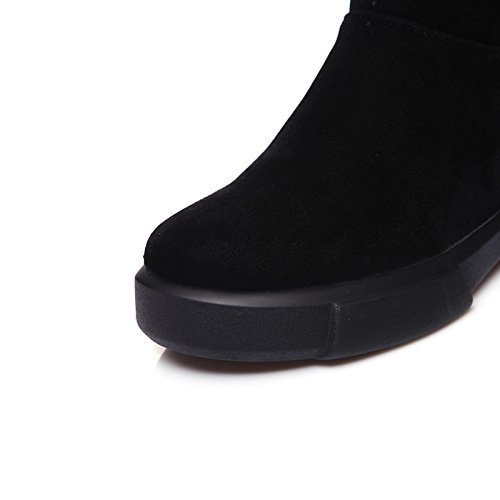 Ankle Flat Calf Women's Round Booties Boots Fashion Fall Black Boots Boots for Winter Boots Fleece Snow ZHZNVX Casual Mid Dress HSXZ Bootie Shoes Boots Toe aFHw7O