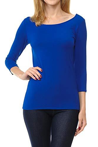 SSOULM Women's 3/4 Sleeve Silky Stretchy Crewneck Slim Fit T-Shirt Top Royal S