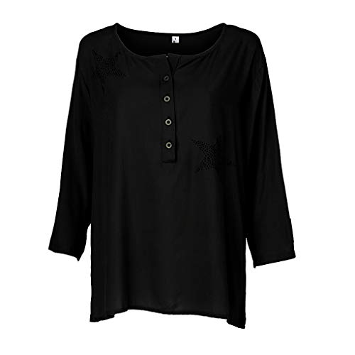 Sunhusing Womens Round Neck Button-Down Seven-Point Sleeve Five-Pointed Star Hot Drilling T-Shirt -