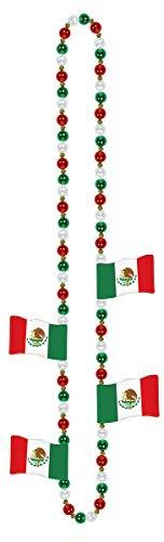 Cinco De Mayo Fiesta Party Mexican Flag Beaded Necklace Accessories, Plastic, 36