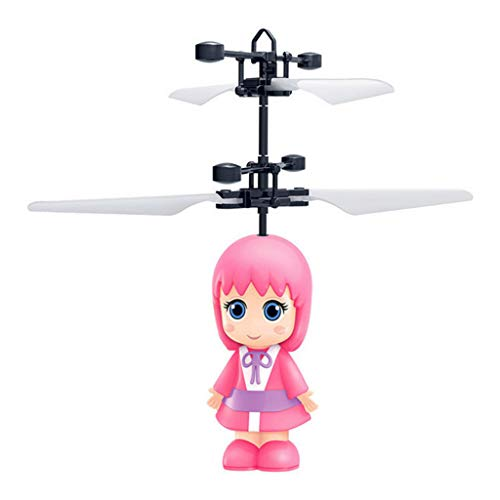 (Fullwei Induction Helicopter Flying Toys- TXD-389 New Mini Little Fairy Flash Children's Toys - RC Infrared Induction Interactive Drone - Colorful Flying Drone for Kid and Adults (Pink))