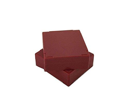 - Premiere Brand 25 Capacity Microscope Slide Storage Box - Crimson - ABS Plastic Cork Lined - Self Locking - Stackable