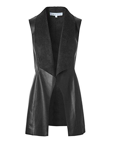 説教する軽蔑するきちんとした(クルレオ) Cleo Women`s Black Drape Faux Leather Vest 女性の黒いドレープフェイクレザーベスト(並行輸入品)