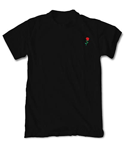 Riot Society Rose Embroidered Men's T-Shirt - Black, Small