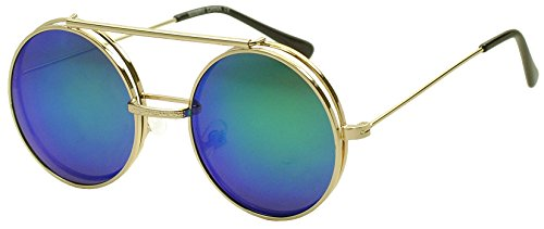 [Gold Round Metal Hipster Fashion Flip Up Glasses Sunglasses with Mid Night Green Revo Lenses] (Vintage Halloween Costumes From The 80s)
