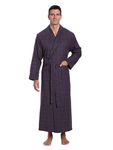 Iron Noble - Noble Mount Men's Flannel Fleece Lined Robe - Windowpane Checks - Iron - Small/Medium