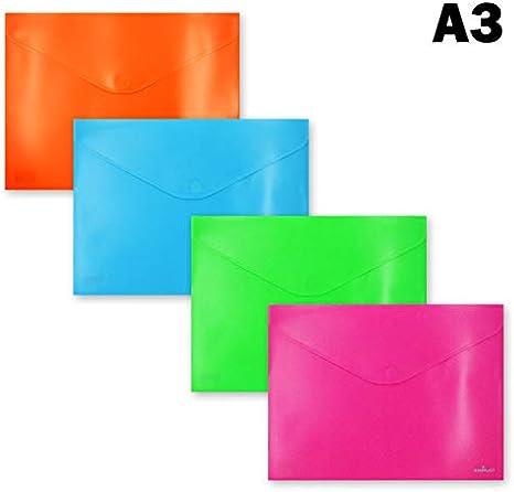 181559 - Pack de 6 carpetas sobre, tamaño A3 cierre de velcro, colores fucsia, naranja, turquesa y verde: Amazon.es: Oficina y papelería