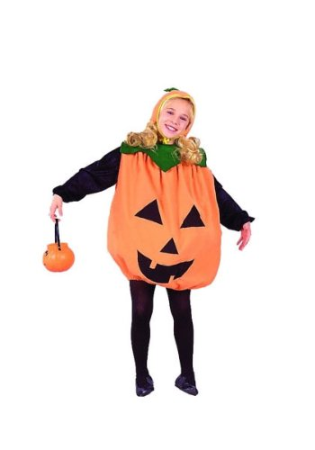 [Child Large 12-14 for 8-10 Yrs. - ECONOMY Low Budget Pumpkin Costume (Pumpkin pail, tights, shirt] (8 People Costumes)
