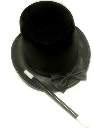 April's Got It Top Hat Black Felt   Ringmaster Hat Costume  Dress Up Party Hats   Magician Wand, Bowtie Included -