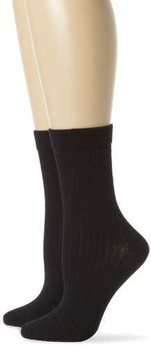 PACT Women's Everyday Crew Sock 2-Pack, Black, One Size