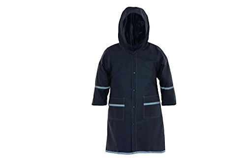 Fabugears Boys/Girls Kids/Juniors Rain Coat Whit Reflector, Full Length Long Hooded M (7-8) Navy Hooded Girls Raincoat