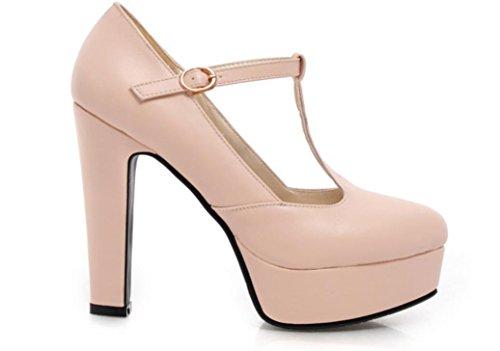 YCMDM DONNA Ultra High con la moda scarpe T stazione Buckle impermeabili della piattaforma singoli pattini , pink , 34