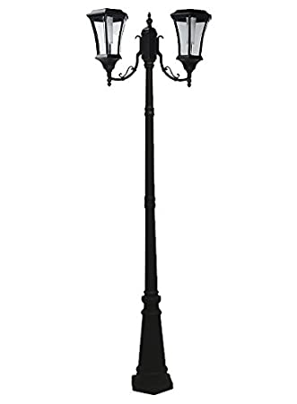7.3 Ft (88 In) Tall Solar Lamp Post With 2 Heads   Black Product