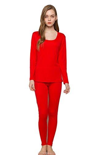Tulpen Damen Wolle Maulbeerseide Thermounterwaesche Sets (Hemd + Hose) Rot Z7Oxr