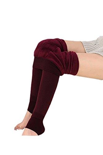 chaud Vococal pantalons automne Rouge reg; hiver Femmes doubl pais lastique Leggings thermique molleton Mesdames qq1xanU