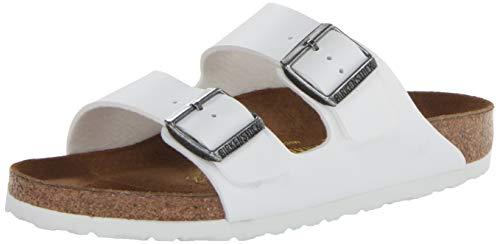 Birkenstock Arizona Unisex Leather Sandal, White/White, 44 M EU