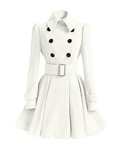 Slim Chaqueta Blanco Trench Outwear Pecho Larga Mujer Abrigo Vintage Coat Elegante DianShao Doble EqfYwf
