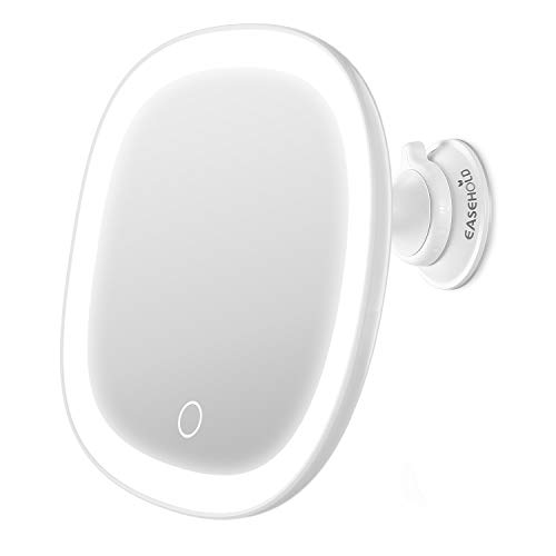 EASEHOLD Lighted Makeup Mirror, Rechargeable 7X Magnifying Vanity Mirror with Powerful Suction -
