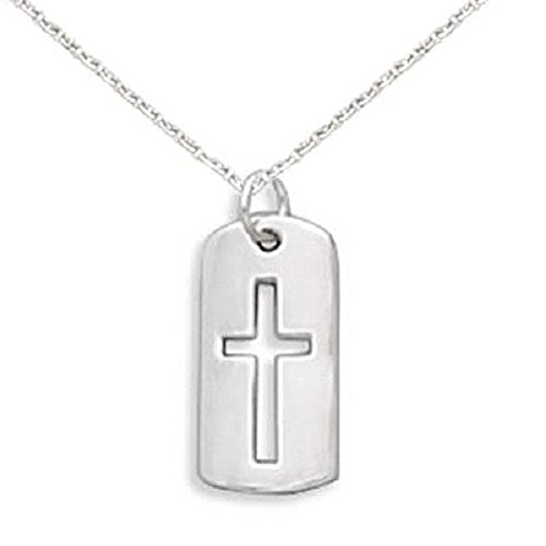 Children's Cross Necklace with Cut Out Tag Sterling Silver, Includes Chain