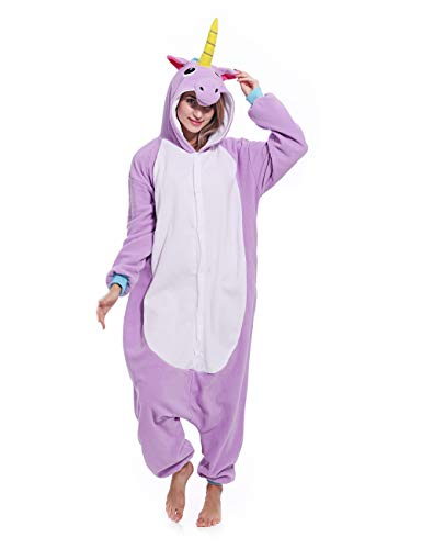 Adult Unisex Unicorn Onesie One-Piece Pajamas Animal Costume Cosplay Sleepwear Pajamas for Women Men Teens