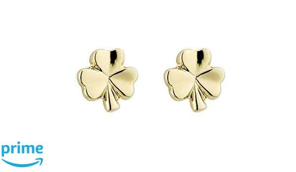 51445a324 Amazon.com: Biddy Murphy Small Shamrock Earrings Gold Plated Studs Made in  Ireland: Jewelry