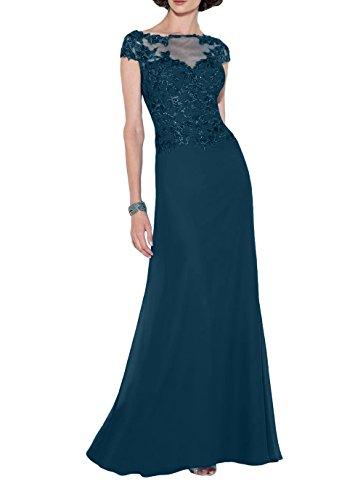 Etuikleider Blau Spitze Damen Kleider Elegant Abschlussballkleider Jugendweihe Festlichkleider Lang Brautmutterkleider Dunkel Charmant Pq7nSw7