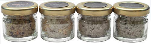 Gourmet Sea Salt Sampler 4-Pack - Organic Dead Sea Seasoning Salts Variety Including Natural Kosher Sundried Tomato & Mint, Orange with Chili, Garlic With Ginger, Kalamata Olive Flavors Set, 0.88oz