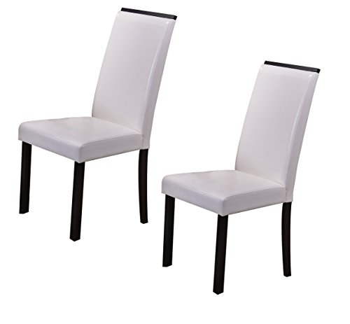 Cappuccino Legs Wood - Kings Brand White Parson Chair With Cappuccino Finish Solid Wood Legs, Set of 2 Chairs