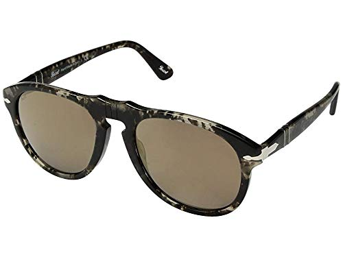 Persol Men's 0PO0649 Spotted Grey Black/Light Brown Mirror Gold One Size (Vintage Persol)
