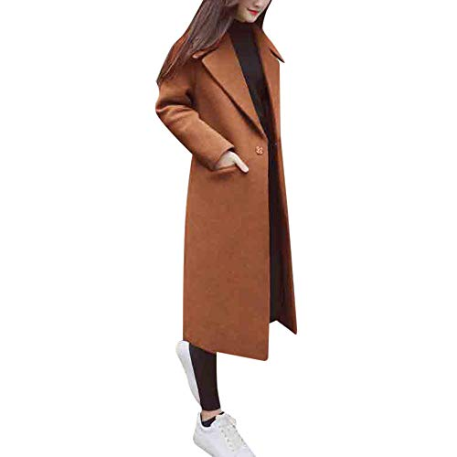 Women's Lapel Wool Blend Longline Winter Fall Warm Coat Overcoat ()
