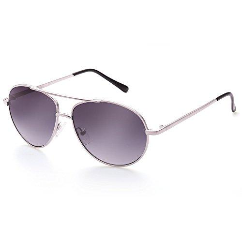 - Aviator Sunglasses for Kids Girls Boys Children, Silver Metal Frame, Grey Gradient Lens, Lightweight, FDA Approved