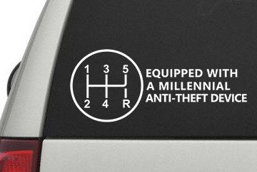 "Equipped with a Millennial Anti-Theft Device Sticker 6"" x 2.5"" (0189) (White)"