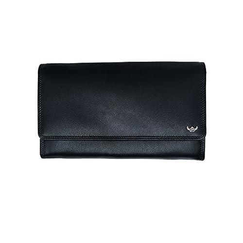 Portemonnaie schwarz Opabörse mit großer Kleingeldschütte LEAS in Echt-Leder