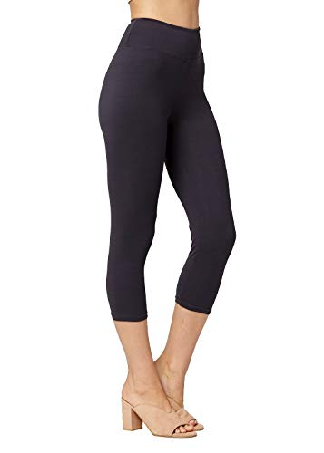 Conceited Super Soft High Waisted Leggings for Women - Capri Charcoal Grey - Small/Medium (0-10) ()