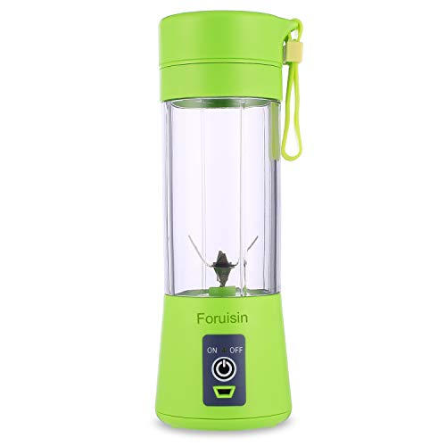 Foruisin Portable Personal Blender, Household Juicer fruit shake Mixer -Six Blades, 380ml Baby cooking machine with USB Charger Cable (Green2)