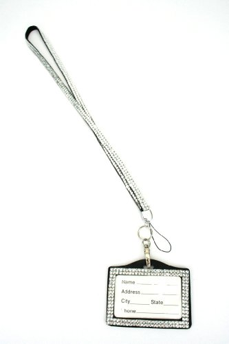 Rhinestone Lanyard Horizontal Lined ID badge holder and key chain by Sizzle City (Clear)