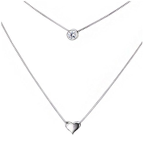 925 Sterling Silver Double Layered Necklace, with Round AAA Zircon and Heart Pendant for Women Teen (Double Necklace Set)