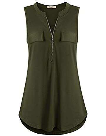 b028728e142e Cyanstyle Women's V Neck Zip Up Casual Tank Top Flaps at Chest Sleeveless  Tunic