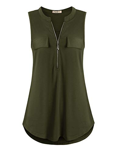 Cyanstyle Women's V Neck Zip Up Casual Tank Top Flaps at Chest Sleeveless Tunic Army Green L