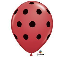 Qualatex Big Black Polka Dots Biodegradable Latex Balloons, 11-Inch (12-Units) -