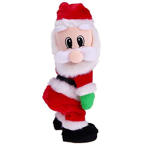 (Happy Xmas - Christmas Gift Dancing Electric Musical Toy Santa Claus Doll Twerking Singing - Xmas Drop Happy Christmas Card Toy Shirt Claus Women Cyrus Short Miley Wood White Pendant Short Wi)