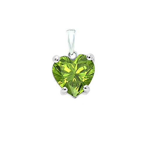 Heart Cut Peridot Pendant - DazzlingRock Collection 14K White Gold 6 MM Heart Cut Peridot Ladies Heart Shaped Pendant