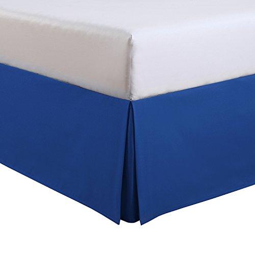 "Fresh Ideas Kids Full Bed Skirt - Lux Hotel Tailored Microfiber Bedskirt, Classic 14"" Drop Length - Cobalt Blue"