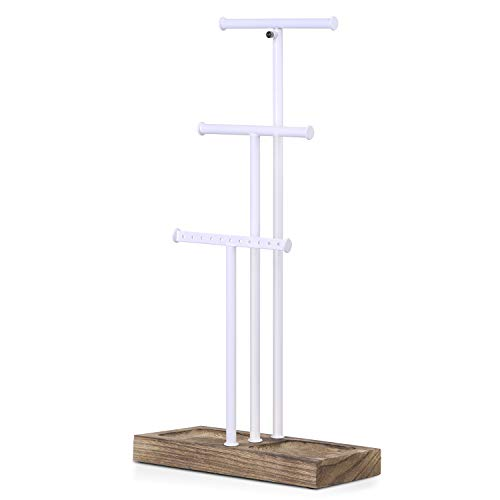 (Love-KANKEI Jewelry Tree Stand White Metal and Wood Basic Large Storage Necklaces Bracelets Earrings Holder Organizer White and Carbonized Black)