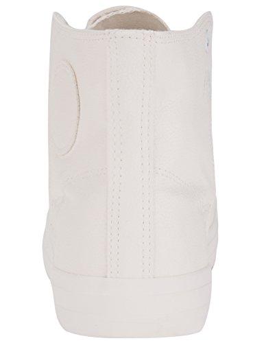 oodji Ultra Hombre Zapatillas Altas de Piel Sintética con Punta de Goma Blanco (1000N)