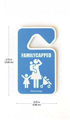 """#tackytags FamilyCapped Rear View Mirror Hanger for Mom, 4.75""""x 2.75"""" Hang Tag Ornament Decoration for Car, Mini Van, Truck, SUV- Universal, Removable Hanging Accessories"""