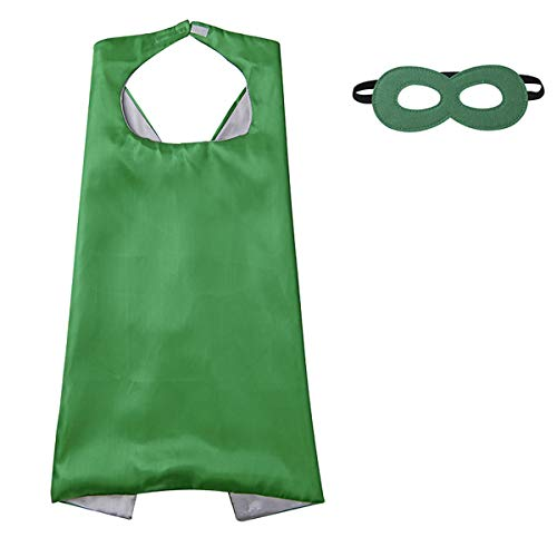 Diffly Kids Fancy Dress Superhero Cape with Mask for Boys and Girls (Green) -