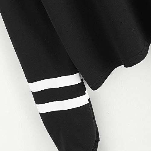 Sport Vtements Mignon Bretelles Noir Chic Longues Femme paule Casual Ray Automne T sans Amples Shirt Col Rond Mode Hauts Chemisier Sweat Pull Manches Haut qYTgnS1S