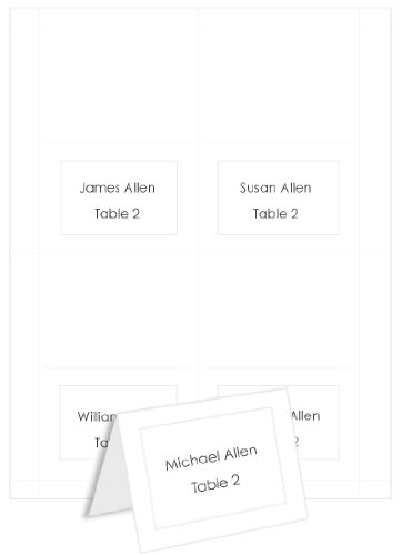 4up Printable Place Cards - Embossed Border Radiant White, 25 pack -